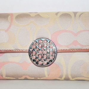 Coach Pink C's Beige Fabric Trifold Clutch Wallet